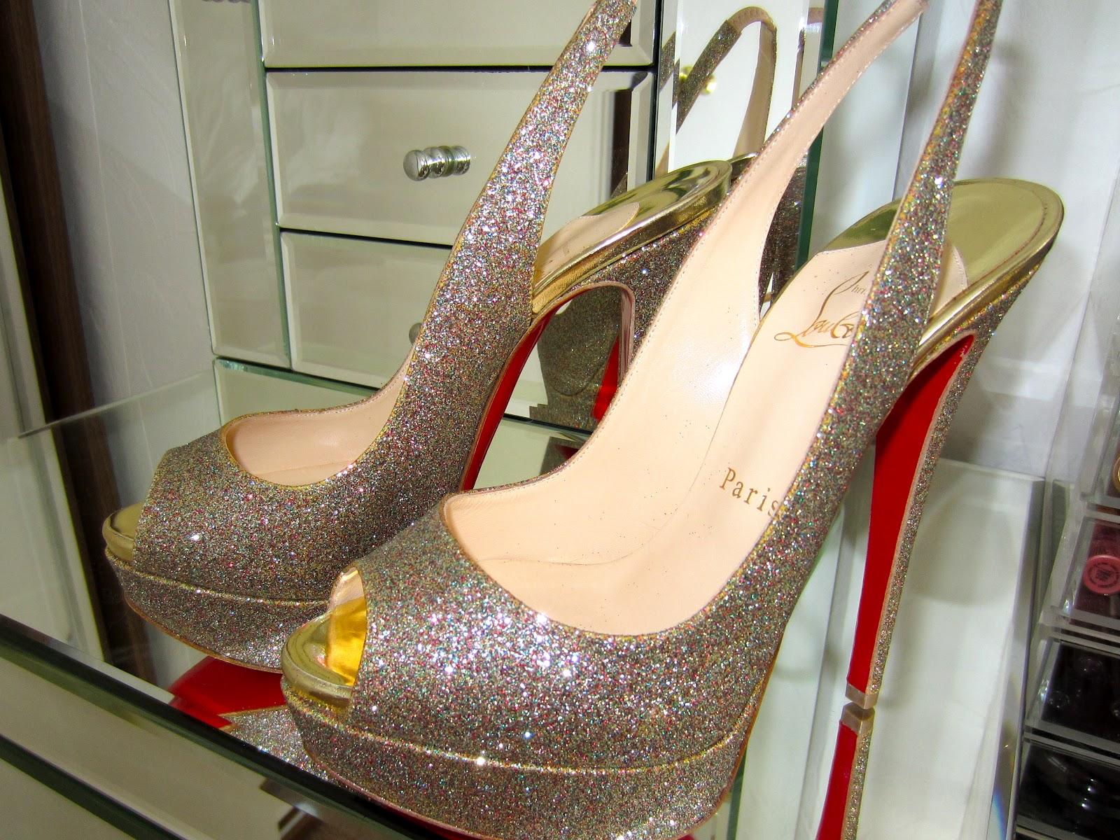 christian louboutin glitter lady slingback pumps