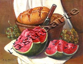 Bodegón con panes y un cuchillo en un pequeño barreño, uvas y sandía abierta