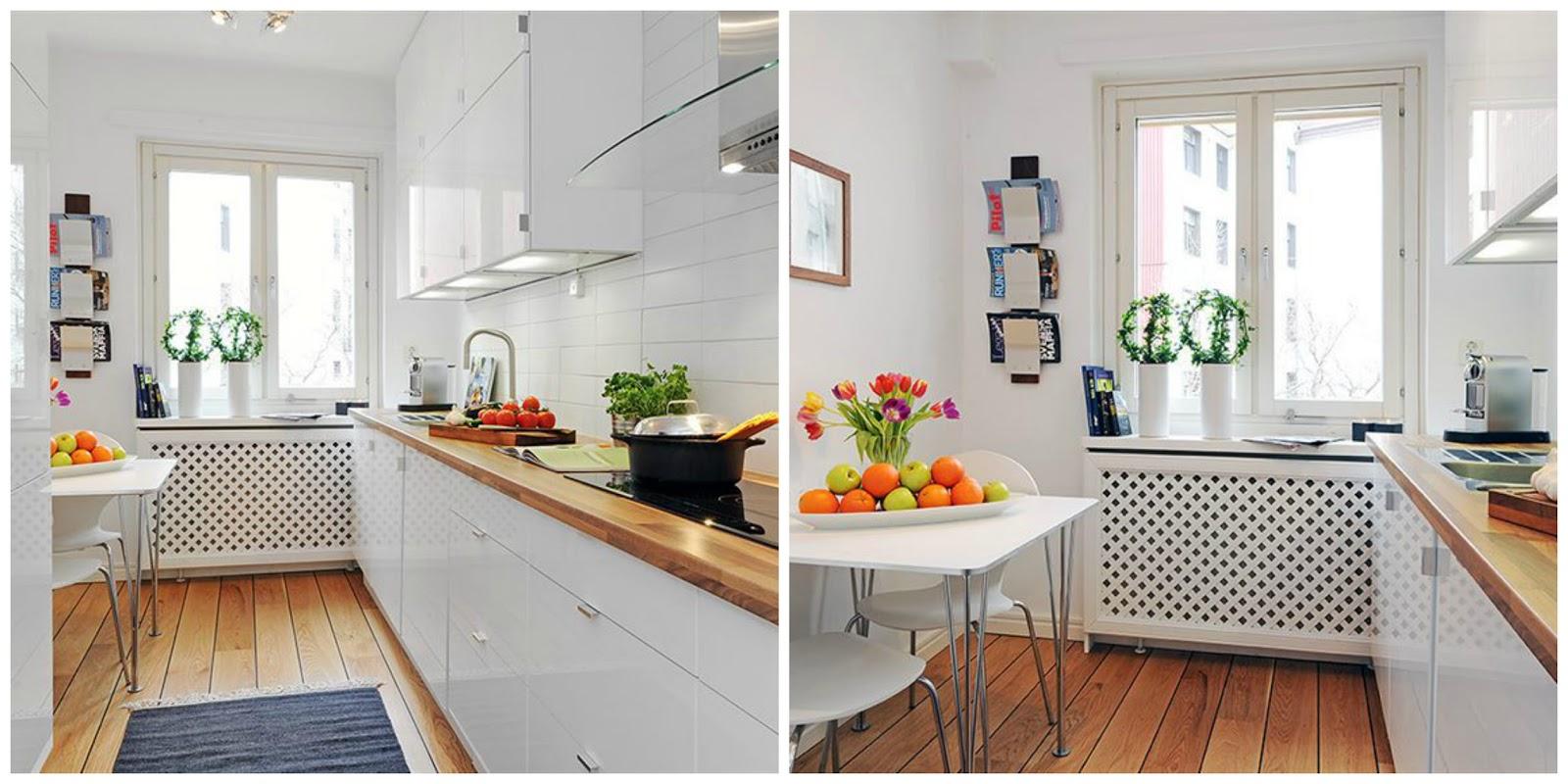 Inspiraci n cocinas peque as blanco y de madera for Cocinas super pequenas