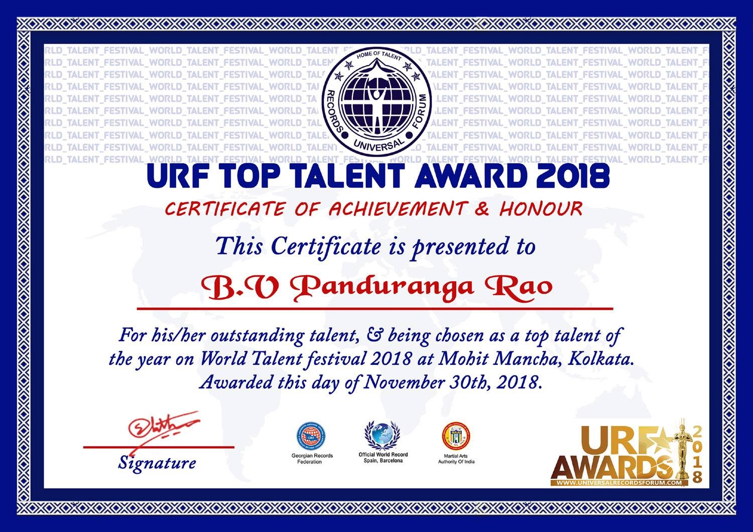 URF talent of the year award -2018