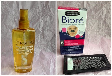 Jergens Shea Beauty Oil and Biore Deep Cleansing Charcoal Pore Strips