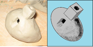 This is a picture and a drawing of a clay whistle for comparison.