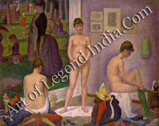 """The Models"" In this 'small version', three models pose in front of Seurat's huge canvas La Grande Jatte. Seurat probably wanted to prove that his vibrant 'dot' technique could be applied with equal effect to a studio interior or a sunny outdoor scene."