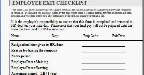 Employee Exit Interview Checklist