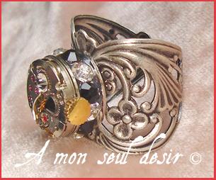 bague steampunk mouvement de montre mécanique mécanisme horlogerie clockwork clockwatch ring