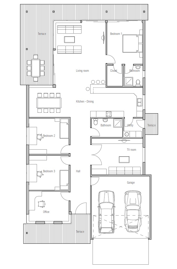 Contemporary House Plans Contemporary House Design Ch117: narrow contemporary house plans