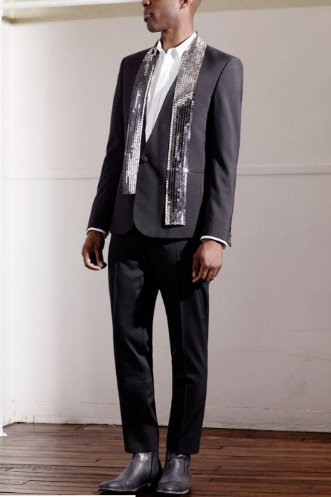 Maison Martin Margiela for HM men's collection, Mirrorball tuxedo jacket, white shirt, black suit trousers, grey painted boots, men's fashion, amazing looks, men's suit , fashion, style, designer collaboration