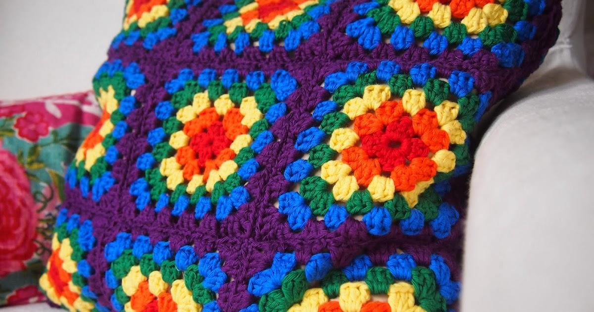 Rainbow Cushion Knitting Pattern : Nightingale & Dolittle: Rainbow Granny Square Crochet Cushion