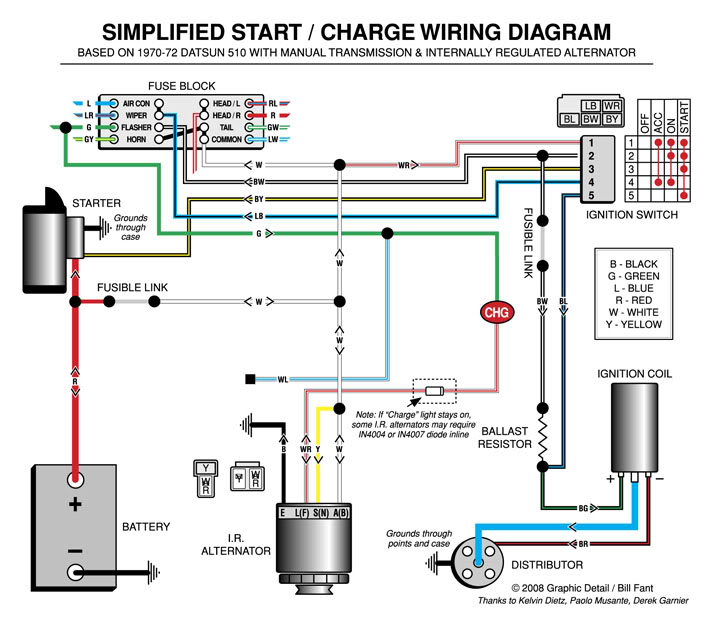 start charging catsun 510 wiring diagram electric simplified start charge wiring diagram the dime quarterly Basic Electrical Wiring Diagrams at alyssarenee.co