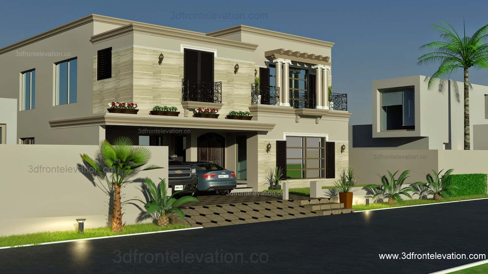 3d front 1 kanal spanish house design plan for New homes design pakistan