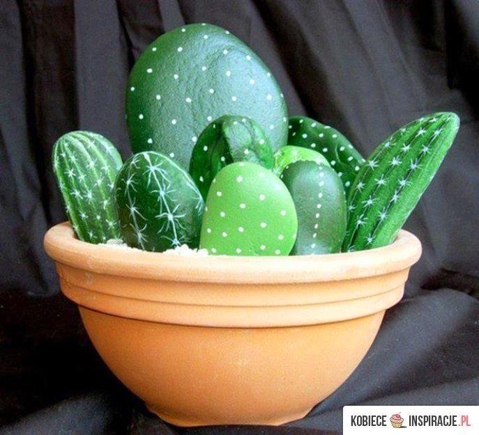 Cactus com pedras, decorar com pedras
