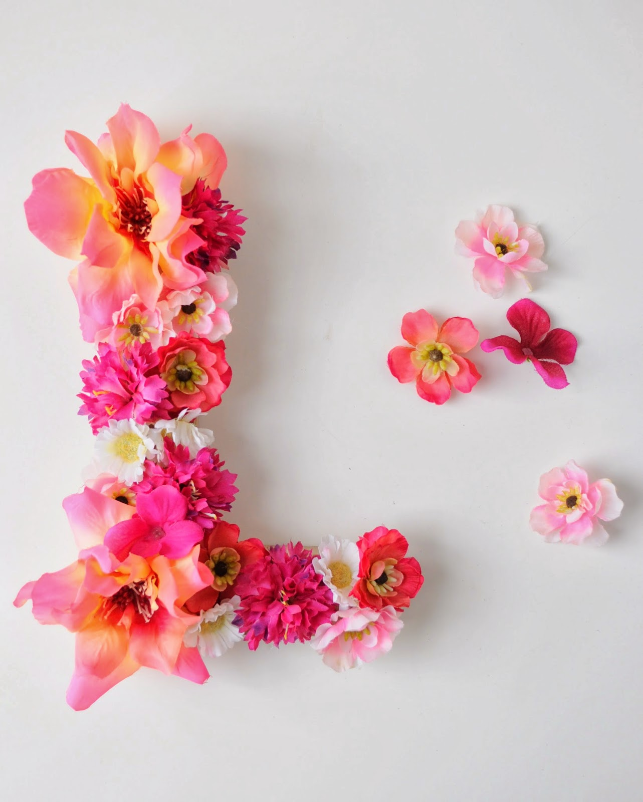 Spring craft diy floral monogram for Decorative flowers for crafts