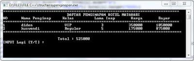 Program Penginapan Menggunakan Borland C++