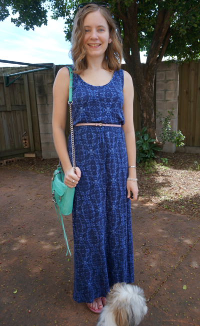 Jeanswest Blue Printed Maxi Dress Easter Lunch outfit pastel accessories