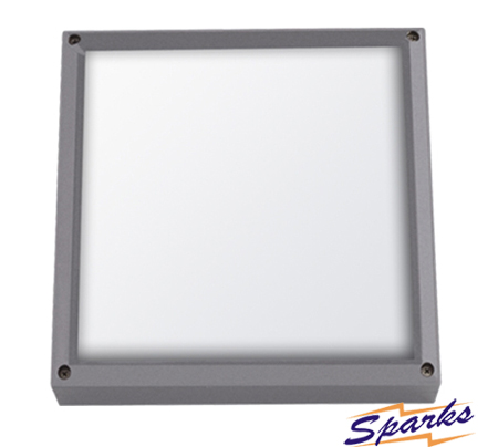 Square Bulkhead in silver, the TPC2155 IP65 rated outdoor light