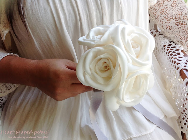 fabric rose bouquet in ivory