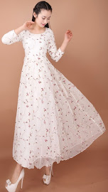 Long Sleeve Rose Embroidered Lace Maxi Dress