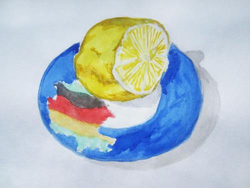 рисунок лимон на блюдце
