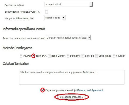 metode pembayaran untuk menyelesaikan pembelian nama domain