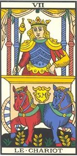 Arcano 7: A Charrete/Carruagem , carta do tarô, tarot, baralho de marselha