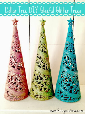 Colorful glitter trees using dollar store supplies