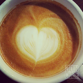 A heart made out of latte foam in South Korea.