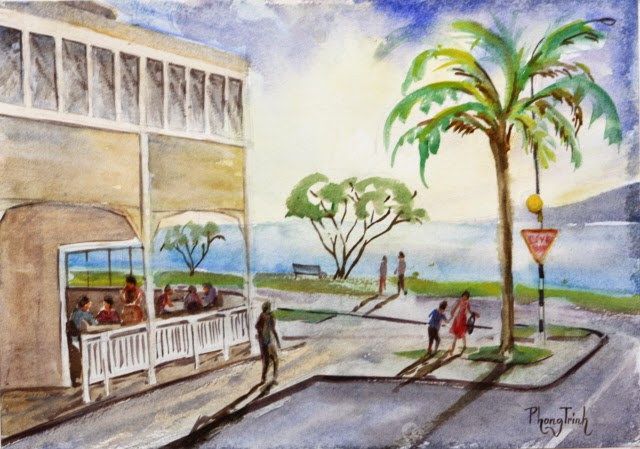 Wonderful Watercolor Outdoor Painting of  St Heliers, Auckland Historic Seaside village, 29.5x42cm