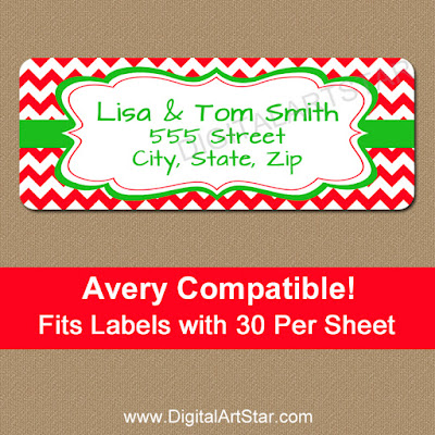 modern holiday return address labels with red chevron