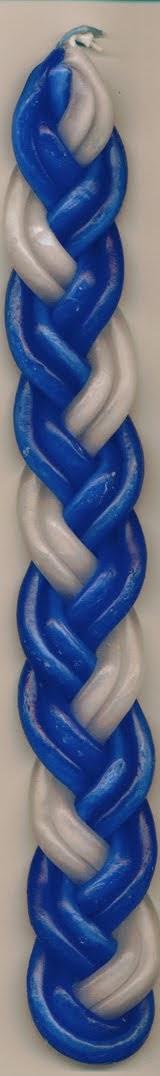Vela Havdallá azul y blanco 26 ctms.