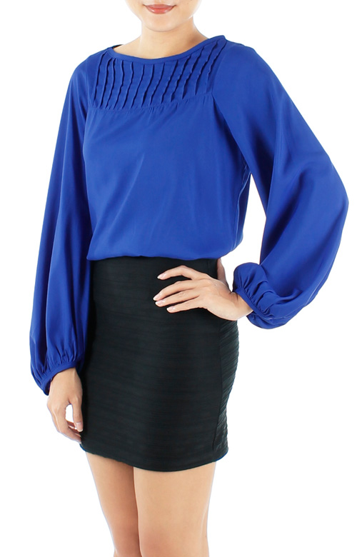 Cobalt Blue Bishop Long Sleeve Blouse with Pintuck Detail
