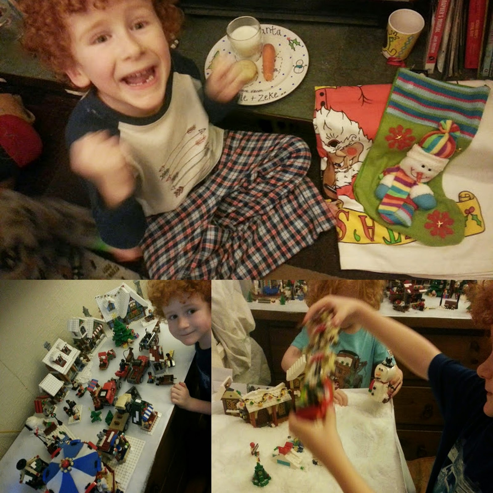Pretend snow play and Christmas eve snack for Santa