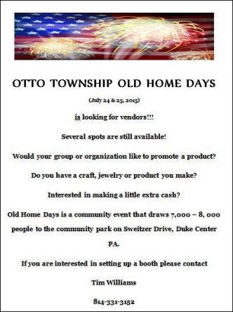 7-24/25 Otto Township Old Home Days