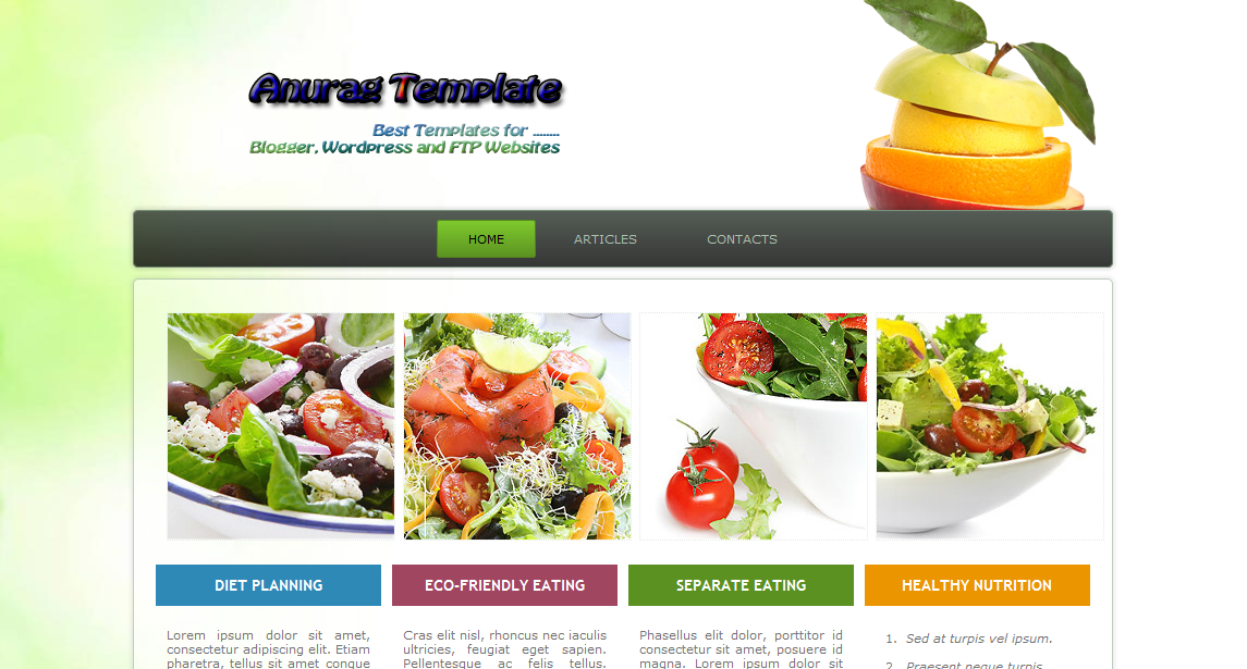 Free Website Template Downloads | Nutrition Website | Anurag ...