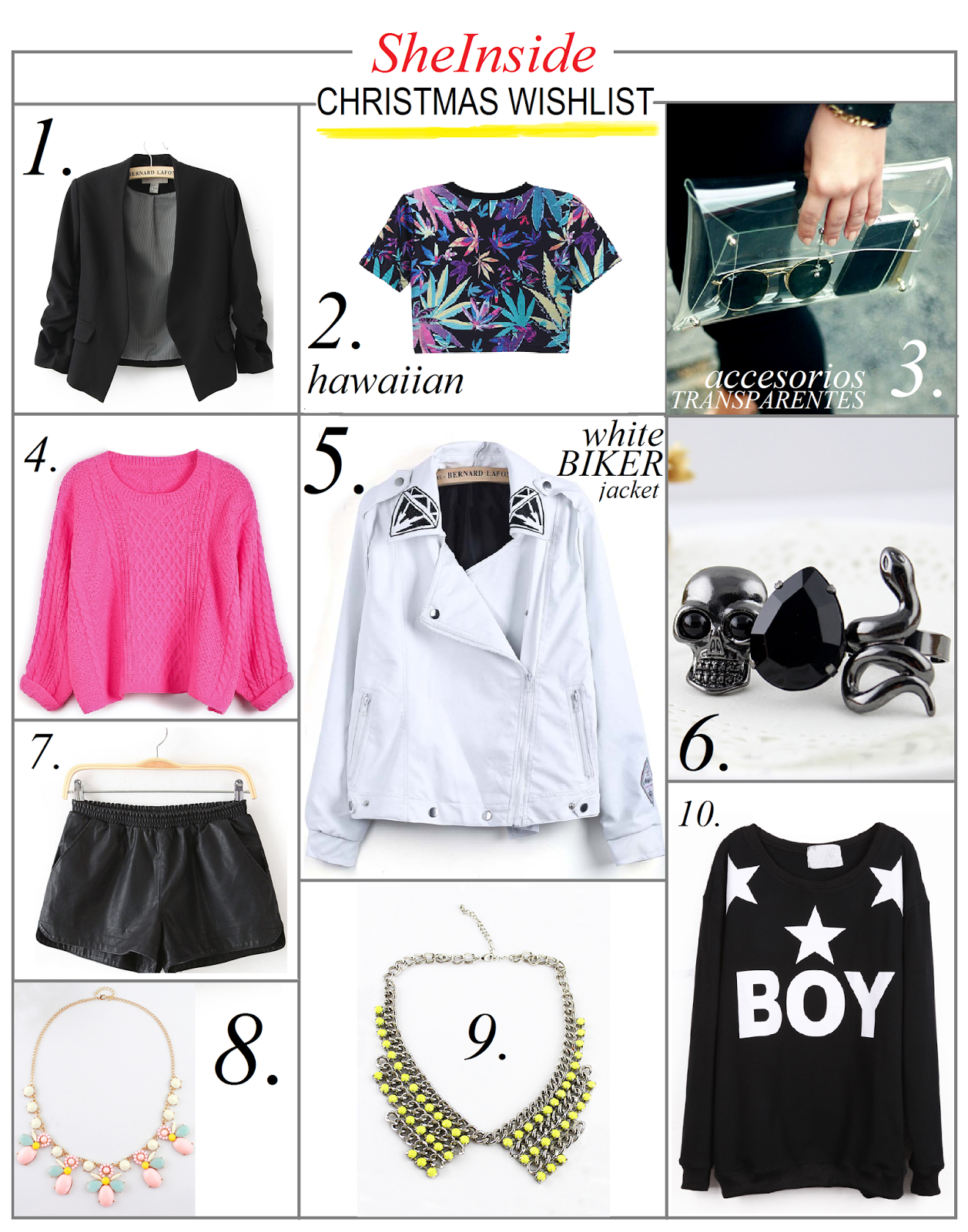 sheinside christmas wishlist