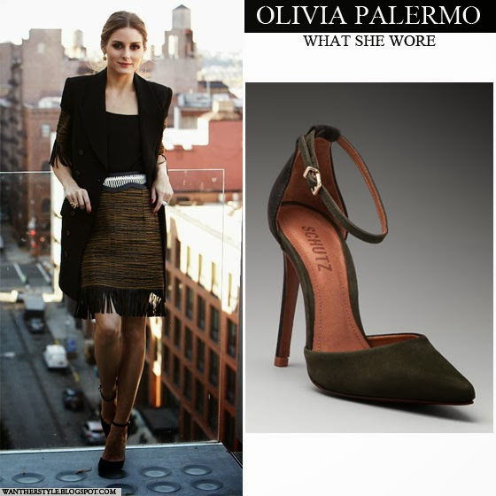 496064e8817 Olivia Palermo in green ankle strap suede pumps with fringe skirt Vogue  Spain