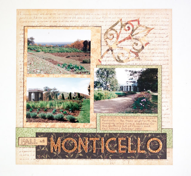 Fall at Monticello layout by Nancy Nally for Layout-a-Week blog