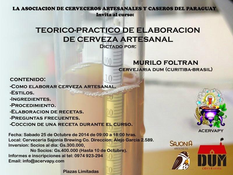 Curso Teorico Practico de Elaboracion de Cerveza Artesanal en Asunción.