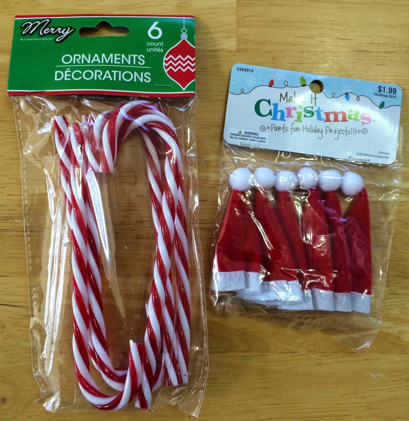 i found the candy canes at dollar tree and the hats at hobby lobby
