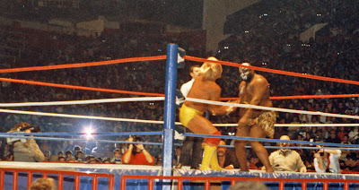WWF wrestling champ Hulk Hogan and Kamala the Ugandan Giant trade shots at Maple Leaf Gardens in Toronto in late 1986.