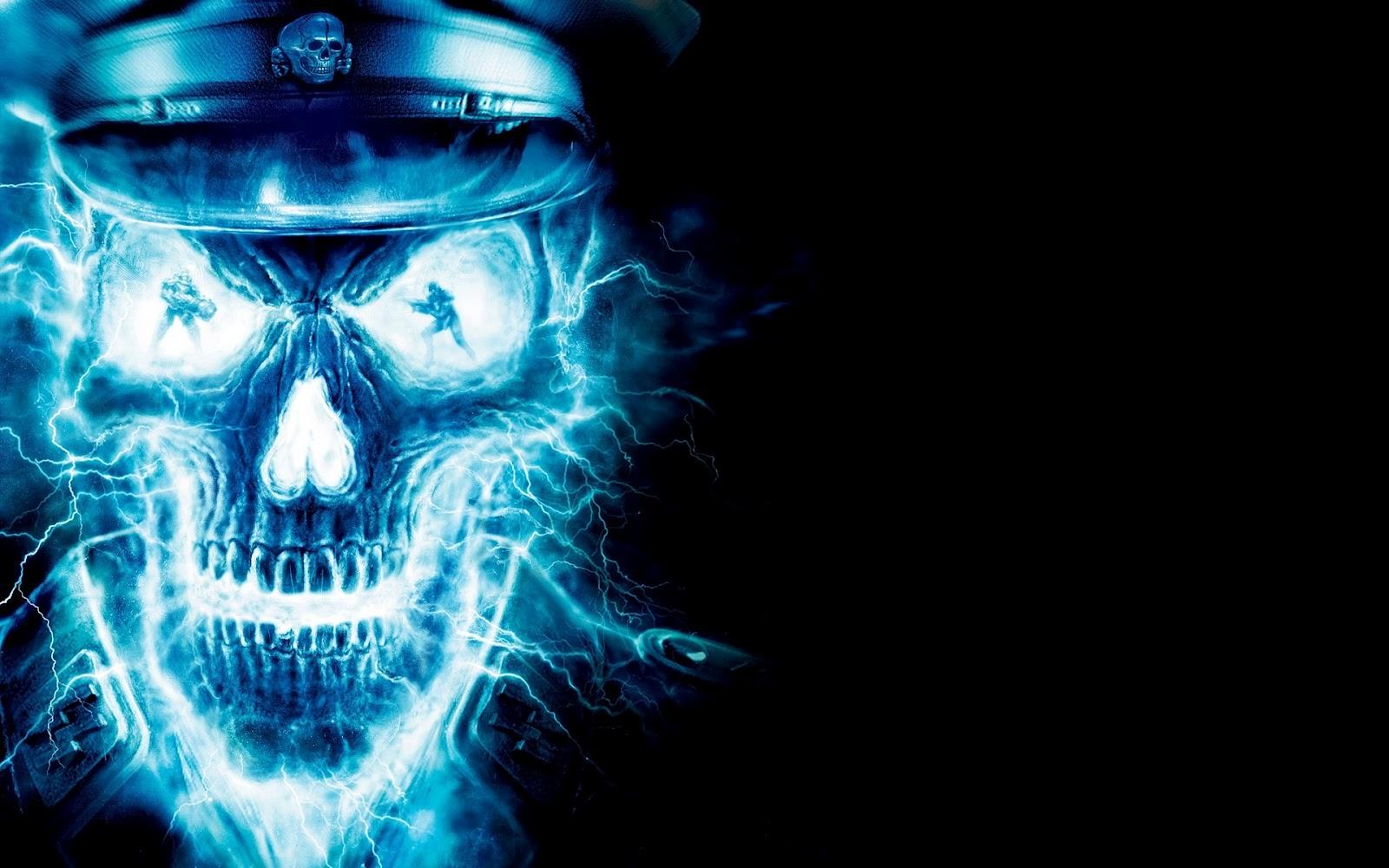 Blue Flaming Skull Backgrounds