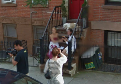 Google Street View closeup of Cat Greenleaf interviewing a guest for Talk Stoop