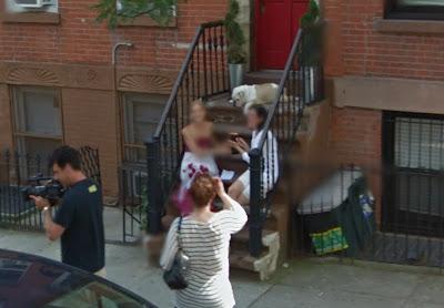 Google Street View closeup of Cat Greenleaf interviewing a guest for Talk Stoop