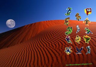 Desktop Wallpapers Ben 10 and Alien Monsters at Red Moon Desert desktop wallpaper