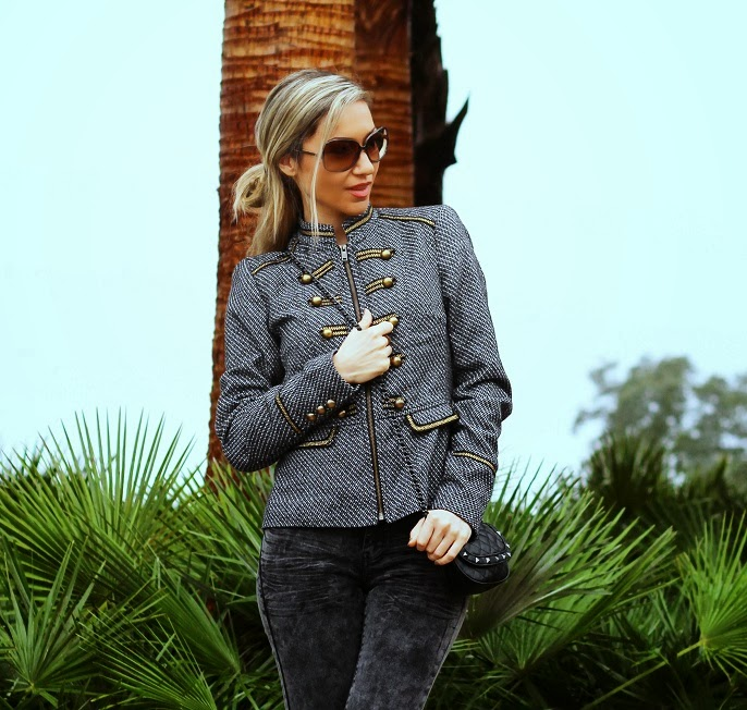 look do dia, military trend, tendência militar, outono inverno 2013 2014, casaco, coat, promod, spikes, tachas, skinny jeans, black, golden, dourado, outfit post, blog  de moda, portugal, consultoria de imagem, streetstyle, fashion blog, style statement, first impression, montargil, hotel do lago, cláudia nascimento