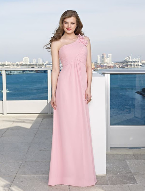 Chiffon One-shoulder Elegant Sheath Style