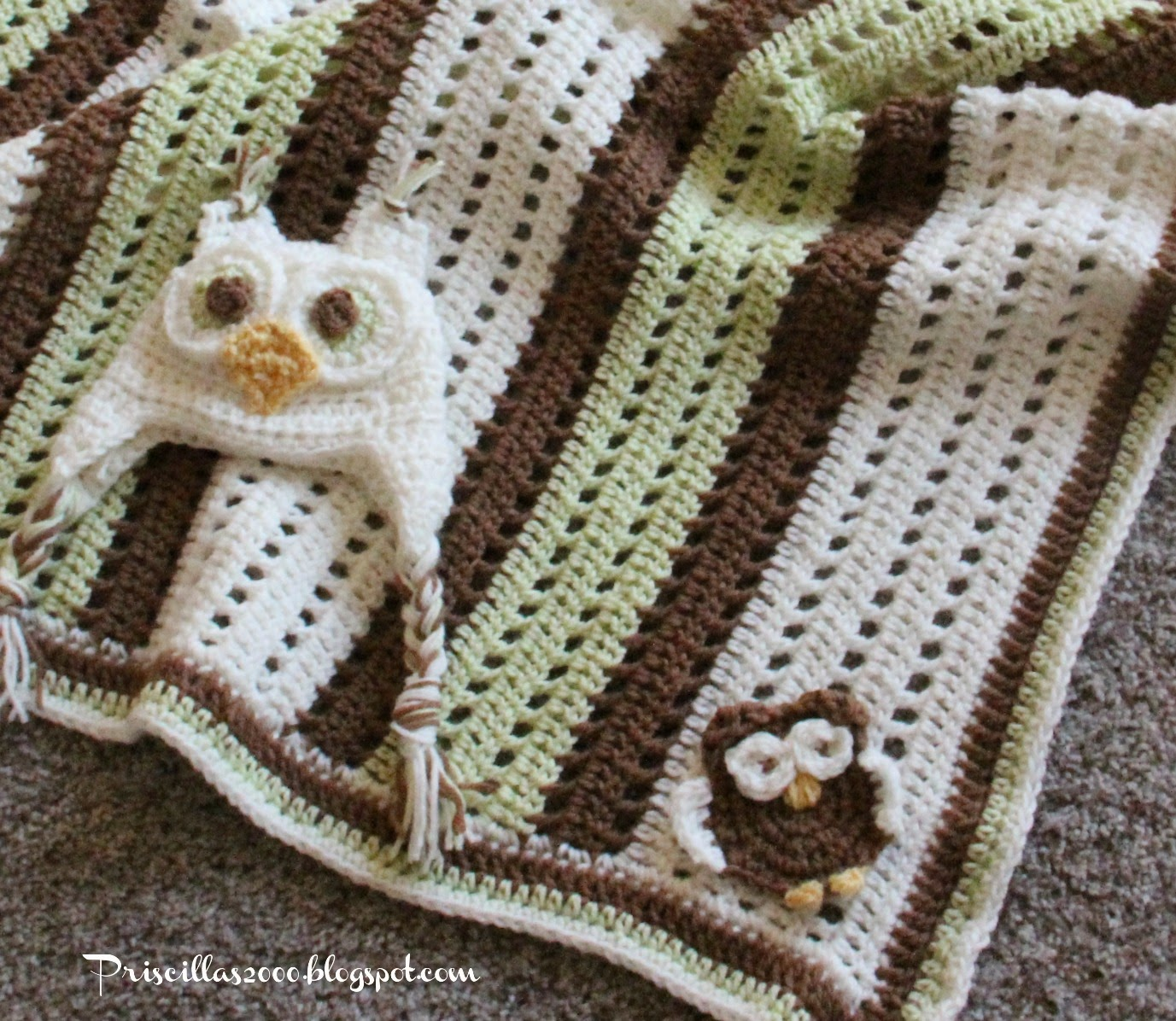 Crochet Owl Blanket : Priscillas: Crochet..Baby Boy Owl Blanket and Hat