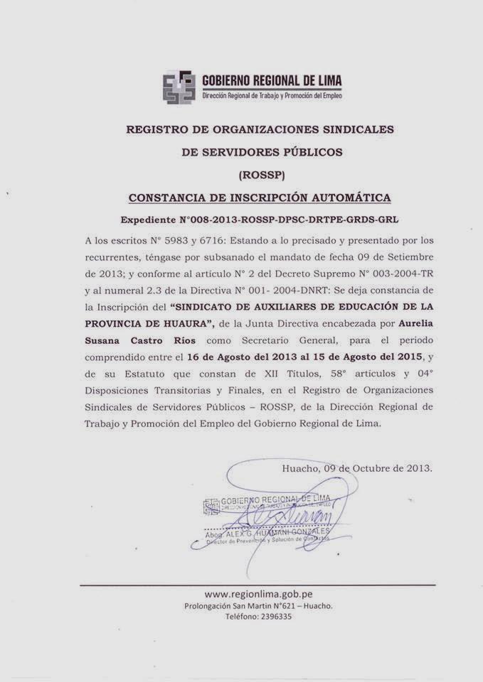 ROSSP HUACHO- LIMA PROV.