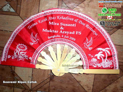 Souvenir Kipas Cetak Kain Bengkulu