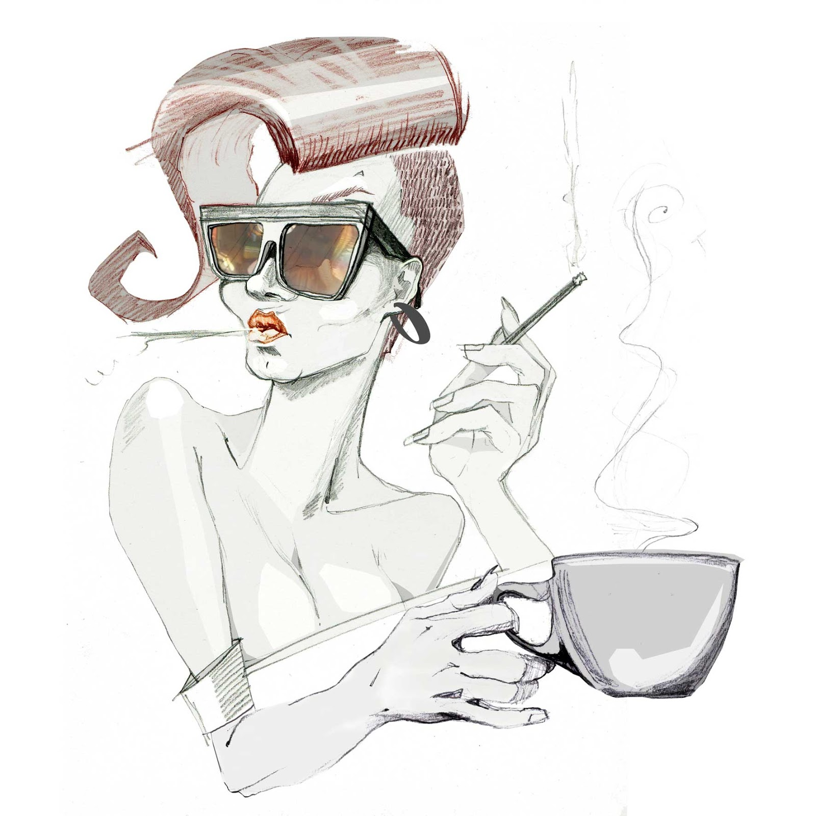 ilustracje make up kobieta kobiece Urbaniak portrety ilustracja na blogi strony internetowe do artykułów wierszy opowiadań illustration for magazines articles books blogs poems woman wit coffe and smoke cigarettes