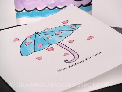 Handmade umbrella card with handmade watercolor paints